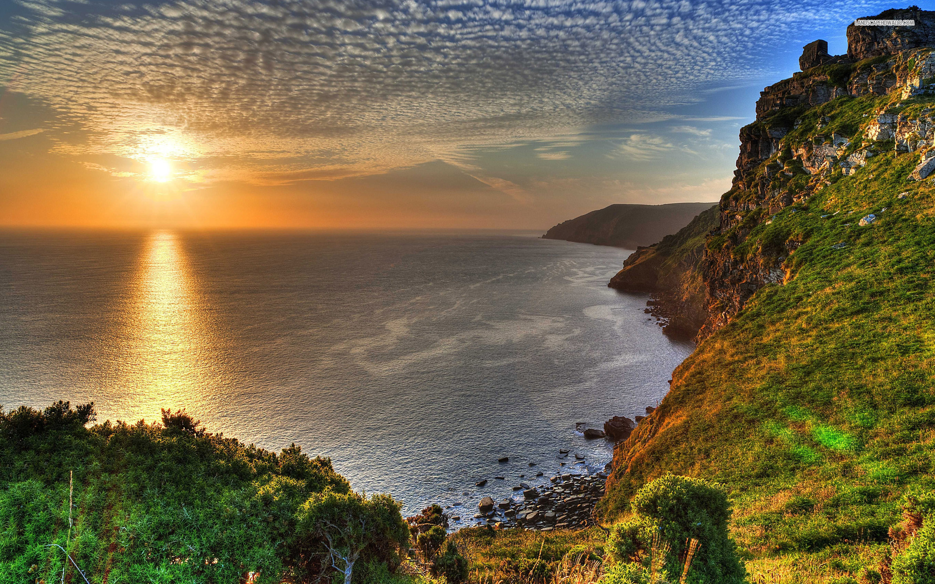 nice sunset ocean cliff scenic wallpapers | nice sunset ocean cliff