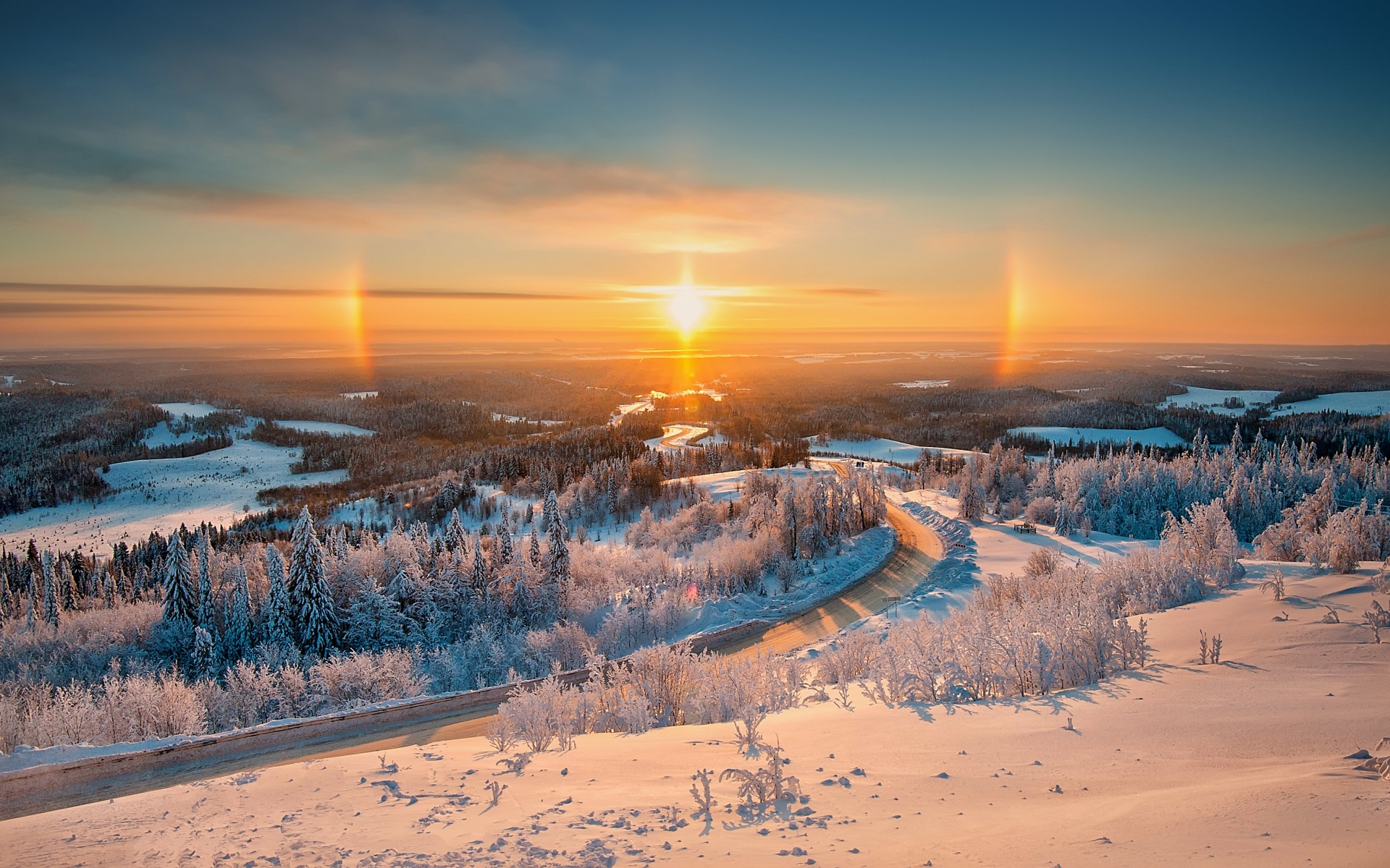 Nice Winter Forest Road Sunset Wallpapers