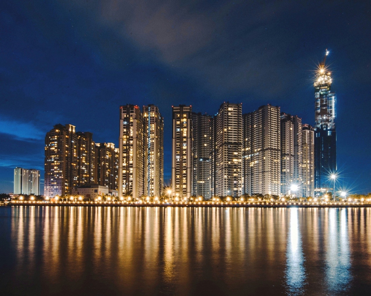 1280x1024 night city, panorama, shore