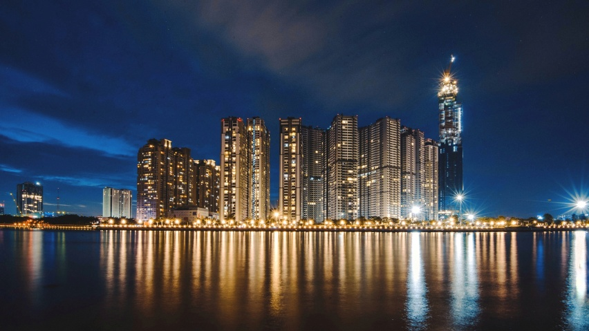 852x480 night city, panorama, shore