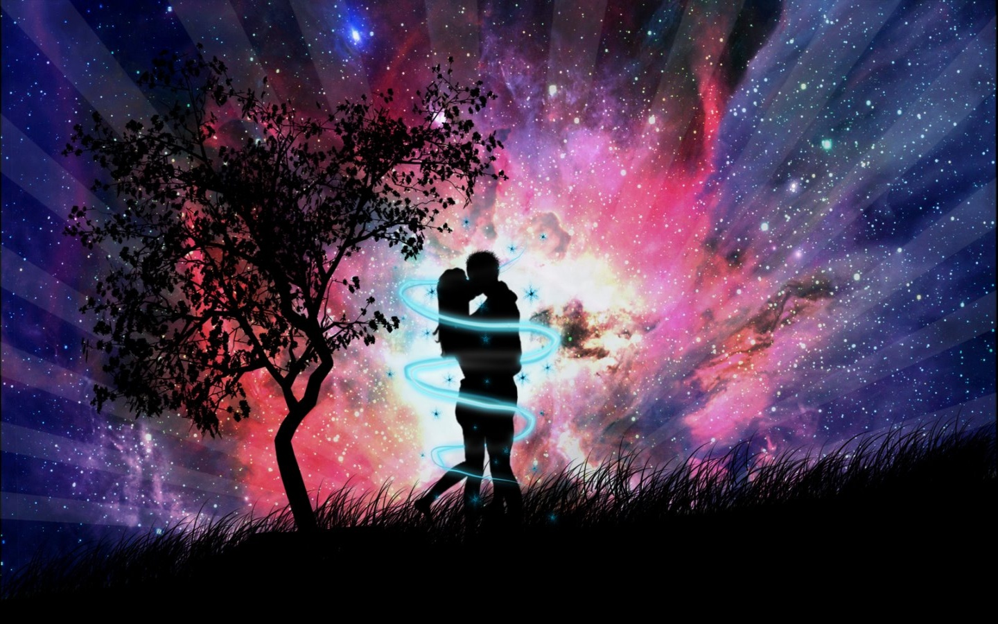 1440x900 night couple kissing desktop pc and mac wallpaper