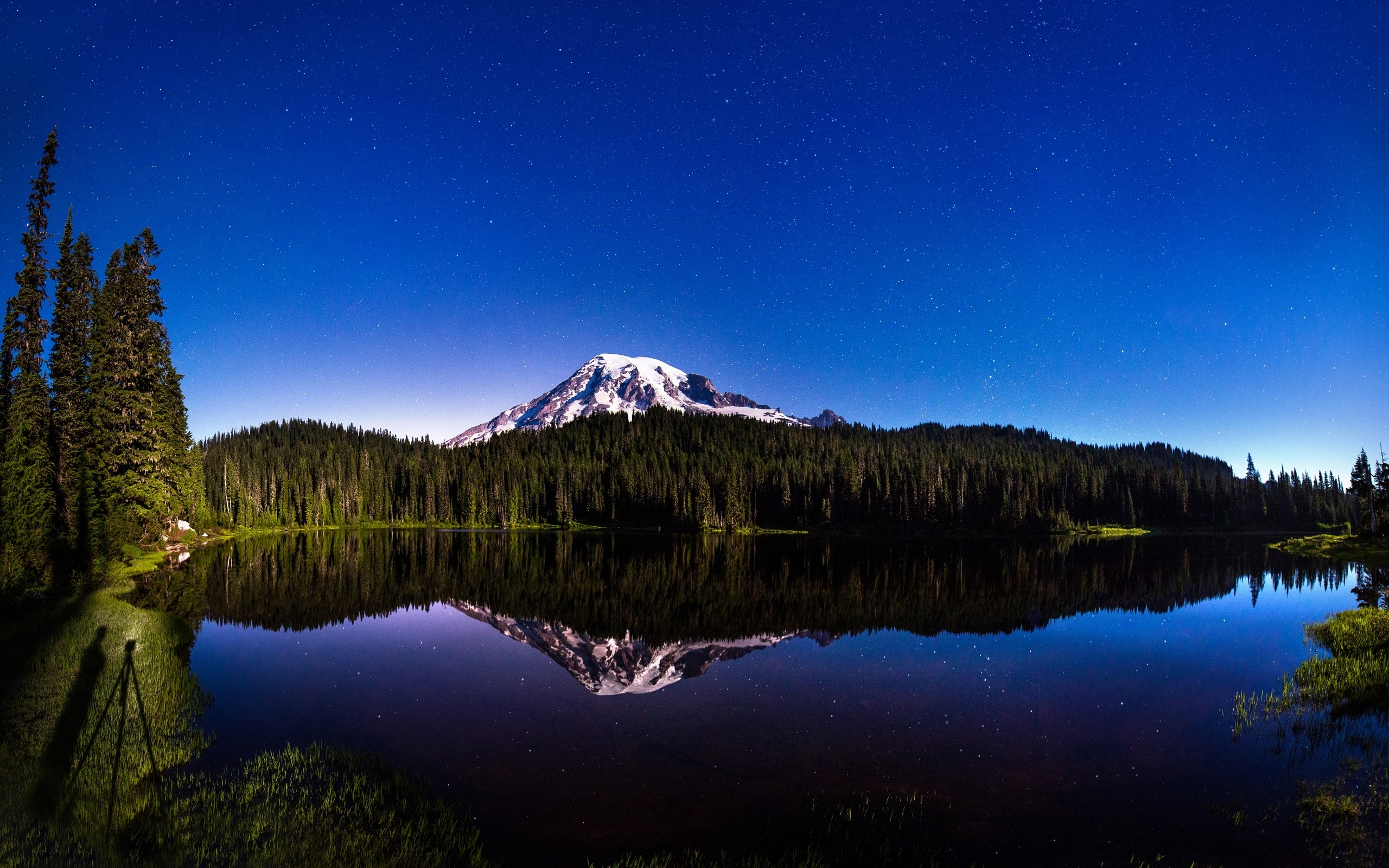 night sky mountain forest lake wallpapers