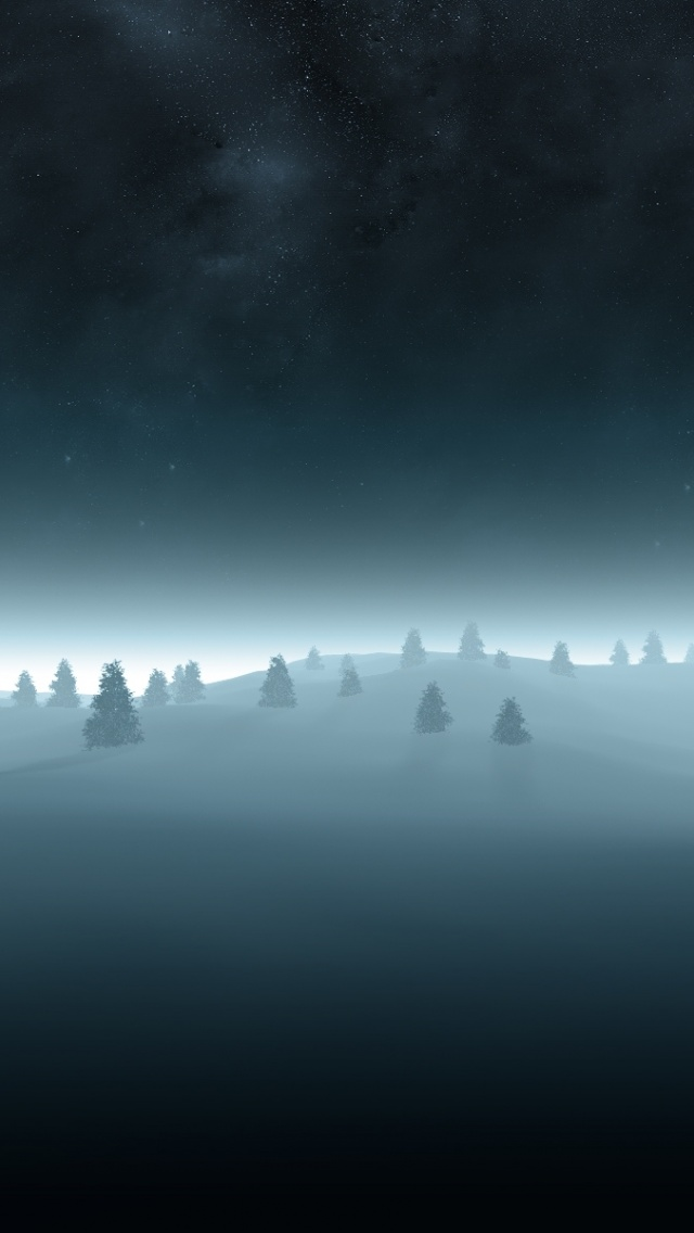 640x1136 Night Trees & Winter Scenic Iphone 5 wallpaper