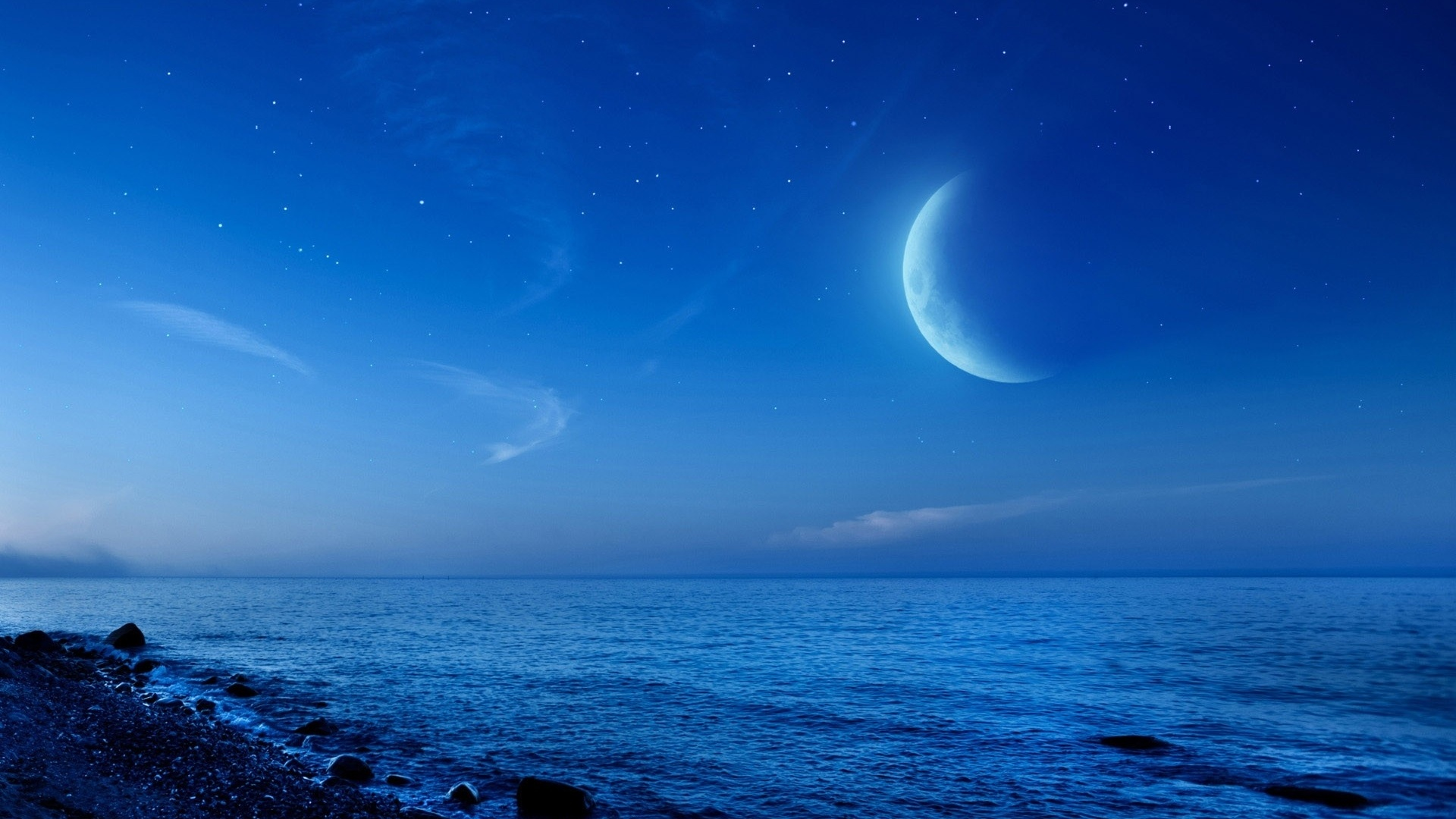 1920x1080 Ocean Beach &amp Moon Desktop PC And Mac Wallpaper