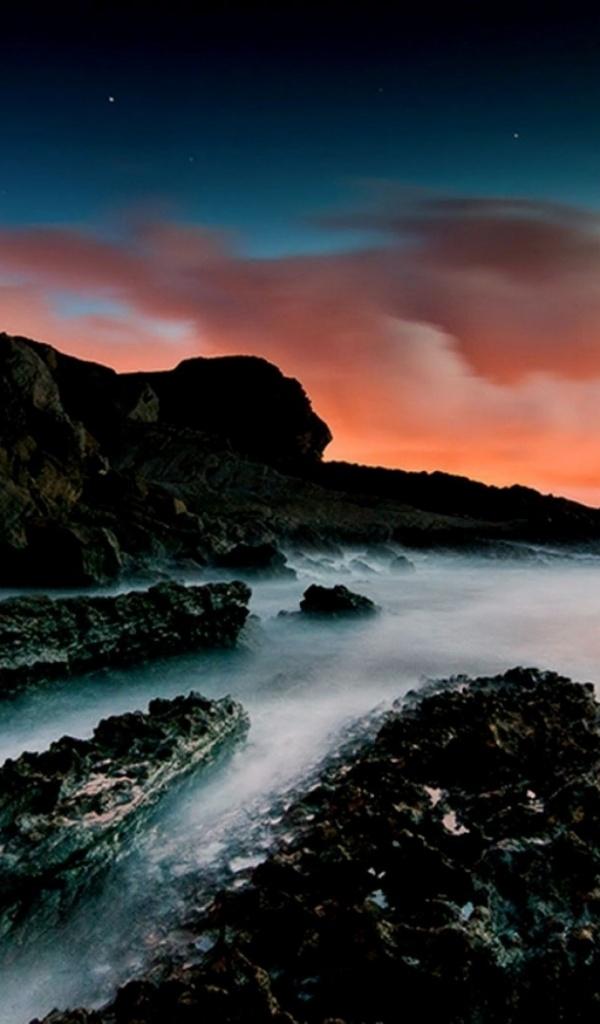 600x1024 Ocean Black Rocks & Red Sky