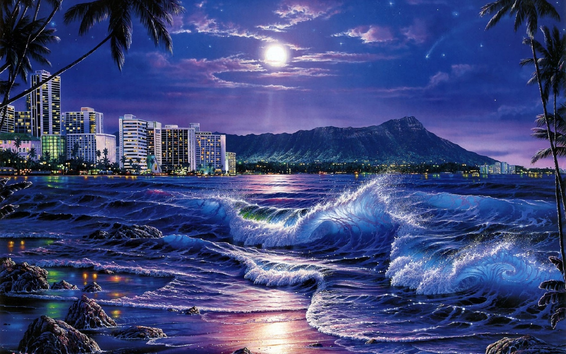 Ocean City Moon Night Hawaii Wallpapers Ocean City Moon Night Hawaii Stock Photos