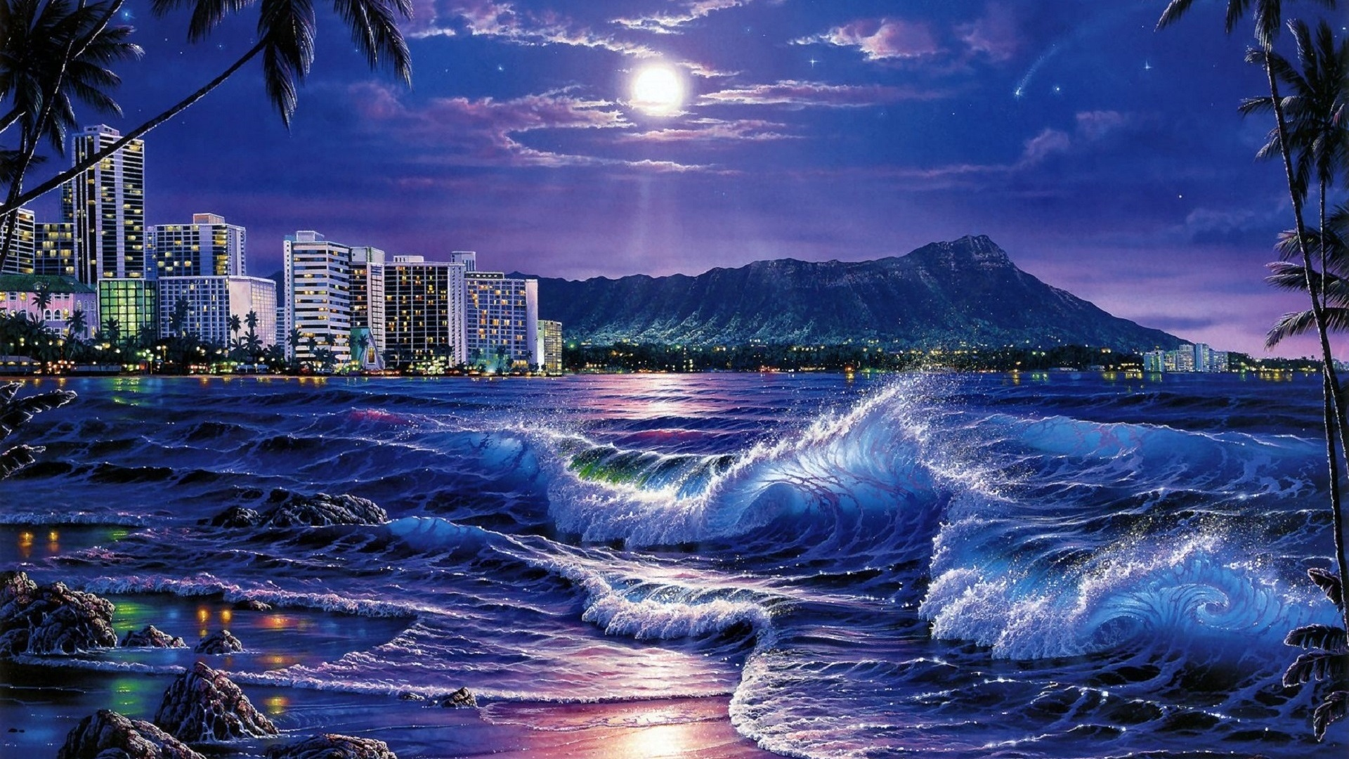 1920x1080 Hd Wallpapers For Your Desktop: 1920x1080 Ocean City Moon Night Hawaii Desktop PC And Mac