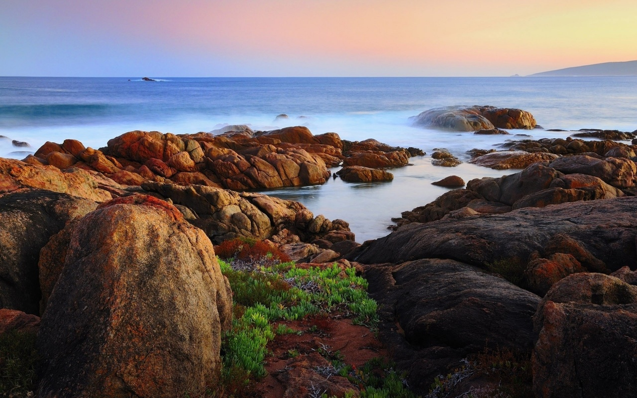 1280x800 Ocean Rocks Coast & Horizon