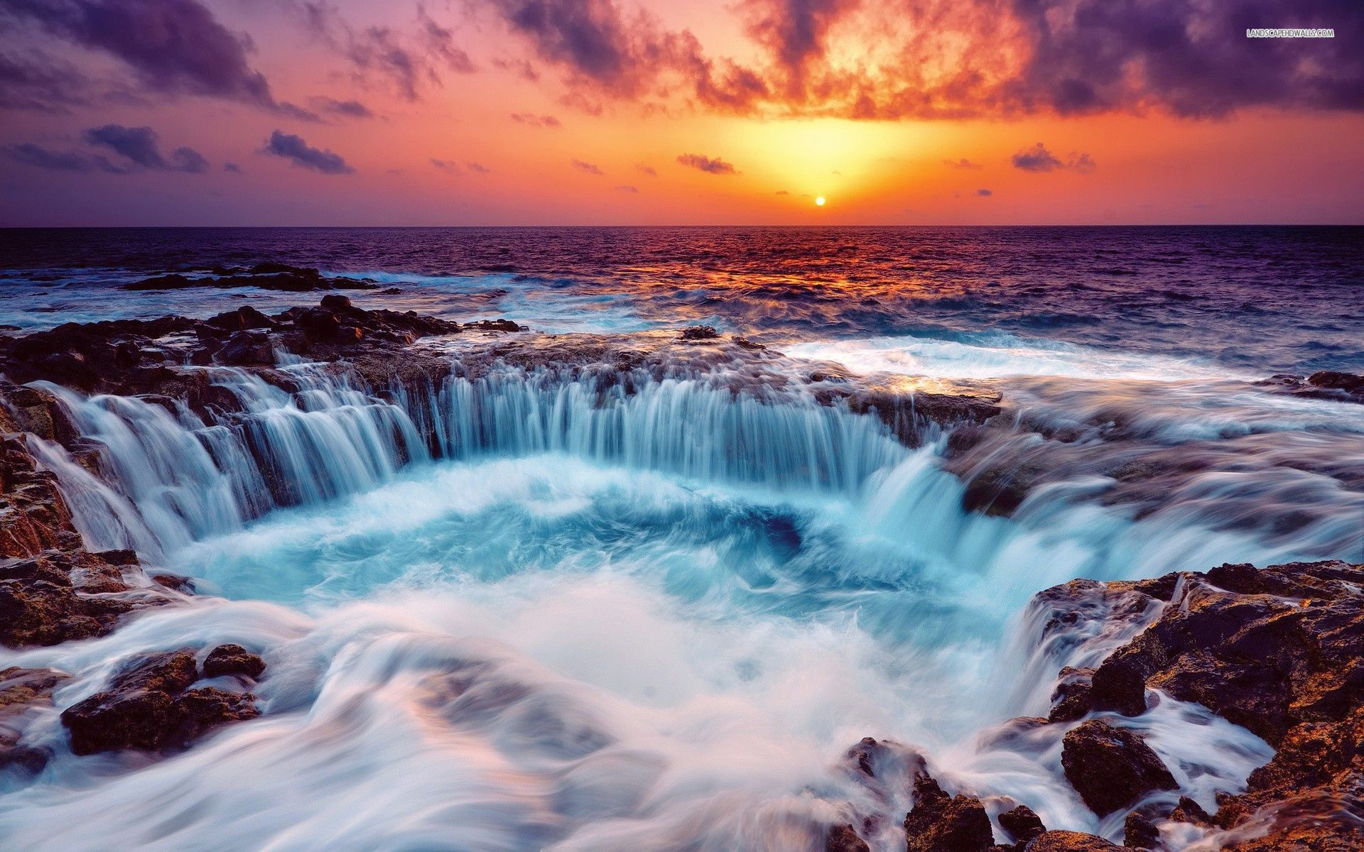 3d Abstract Sunset Beach From Another World Ipad Wallpaper: Ocean Rocks Waterfall Sunset Wallpapers