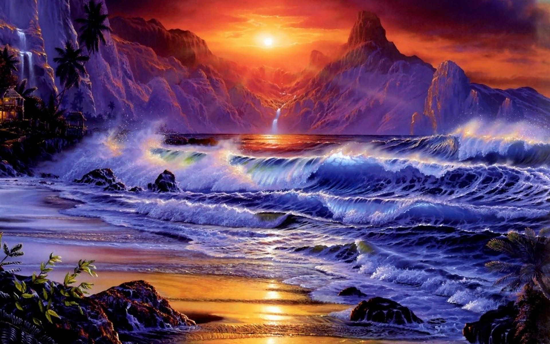 3d Abstract Sunset Beach From Another World Ipad Wallpaper: Ocean Waves Sunset Beach Wallpapers