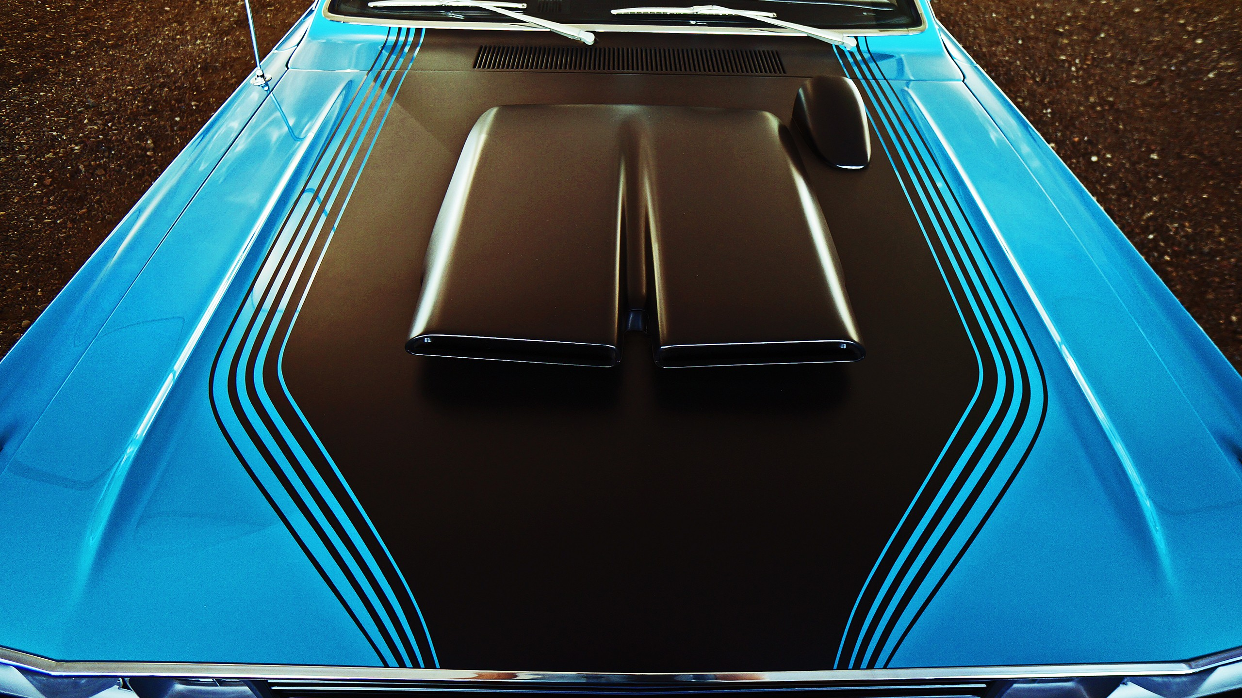 2560x1440 Oldschool Muscle Car Blue Bonnet Youtube Channel Cover