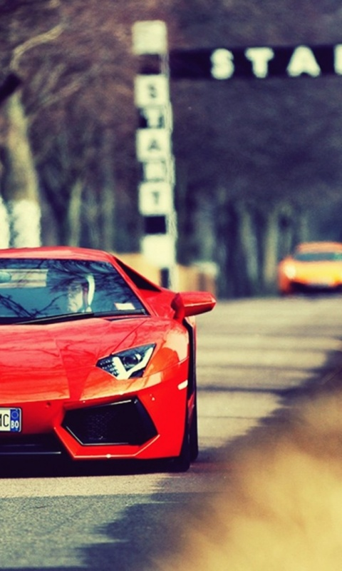 480x800 Orange Lamborghini Aventador On The Track Galaxy S2 Wallpaper