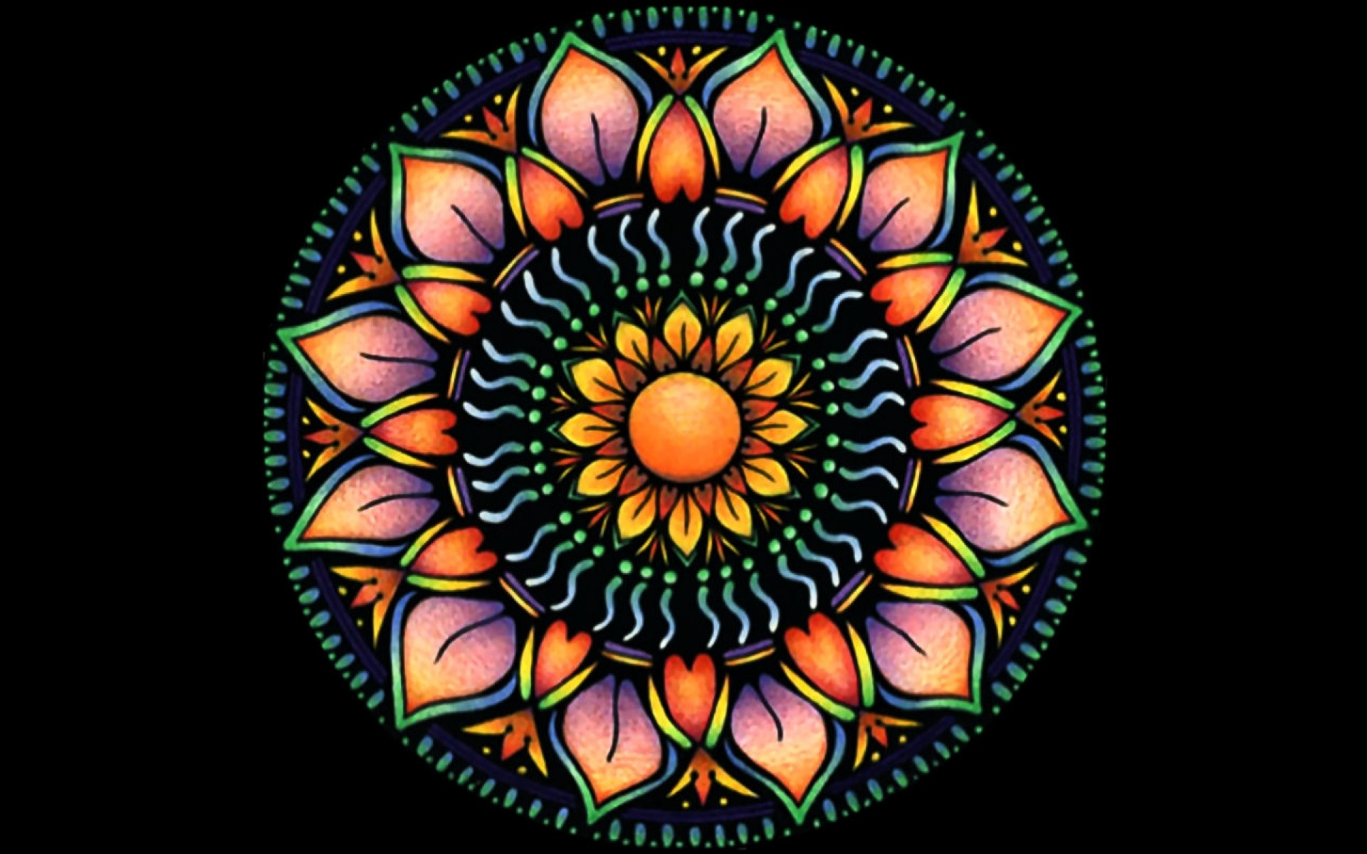 1920x1200 Orange Mandala Flower Desktop Pc And Mac Wallpaper