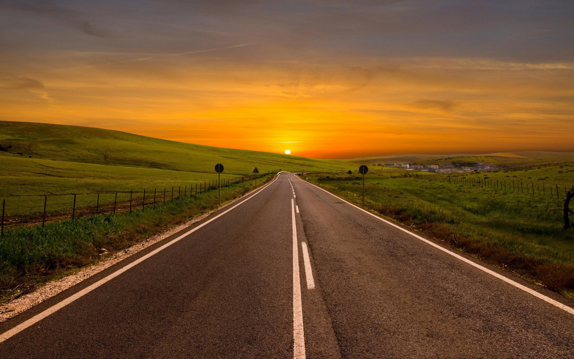 Road Sunset Wallpaper Orange Sunset Road Fie...