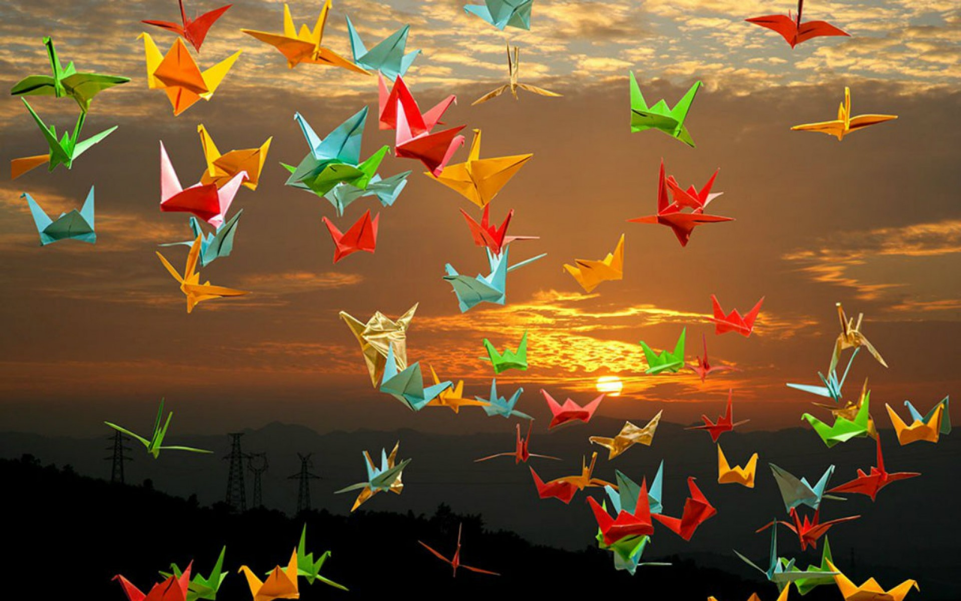 origami cranes sunset wallpapers