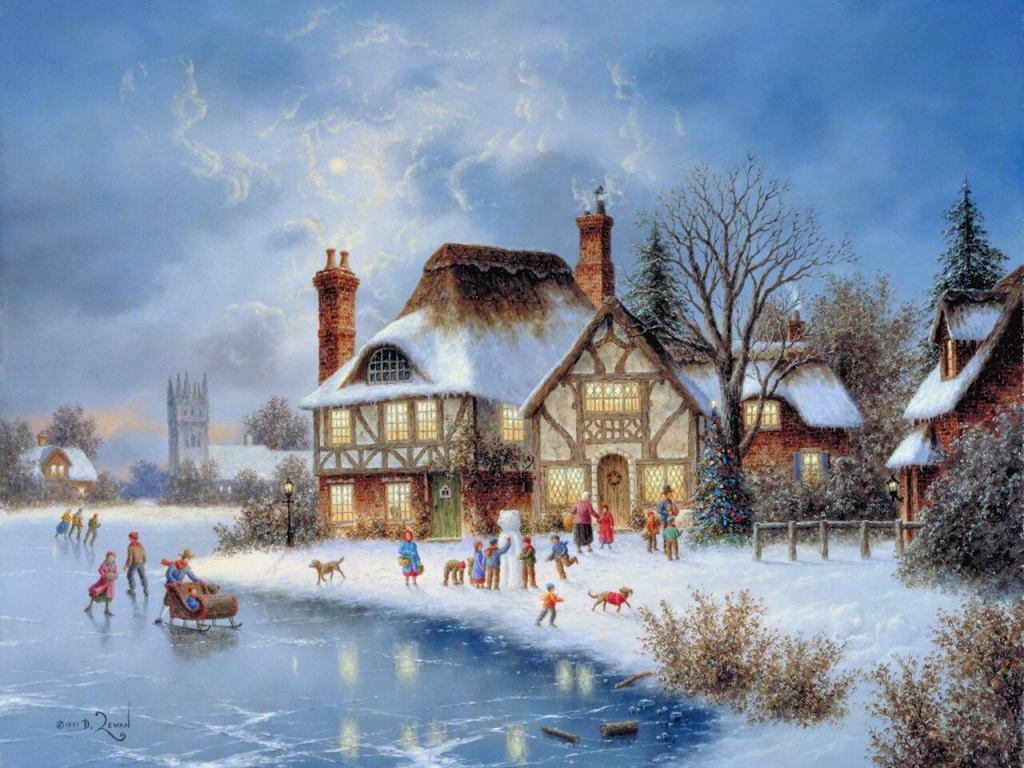 Christmas Winter Scene Painting