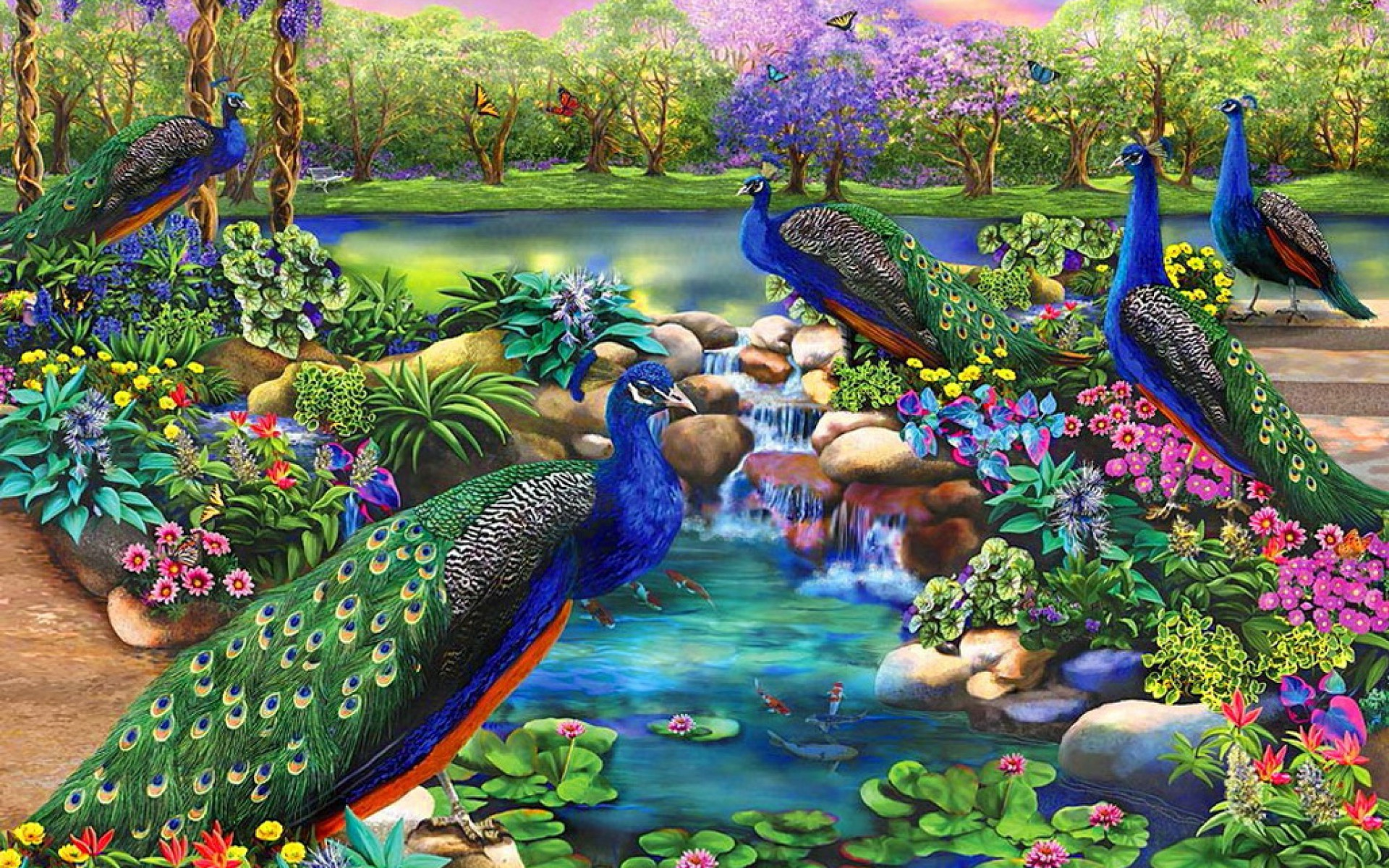 Peacocks Fantasy Garden Wallpapers Peacocks Fantasy
