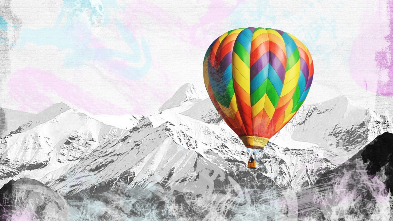 1280x720 Peaks Colorful Hot Air Balloon desktop PC and Mac ...