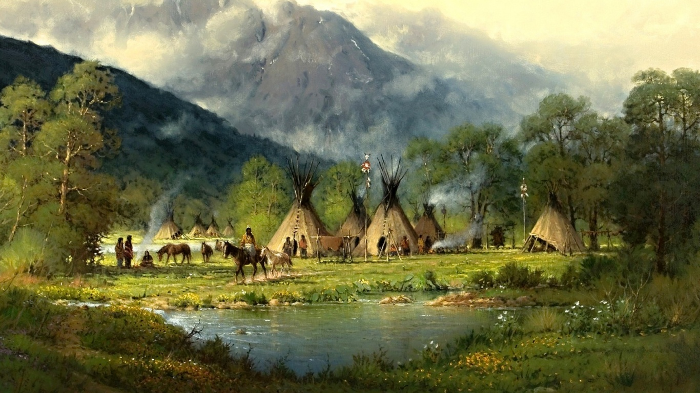 1366x768 Peaks Forest Indian Tribe Pond Desktop Pc And Mac