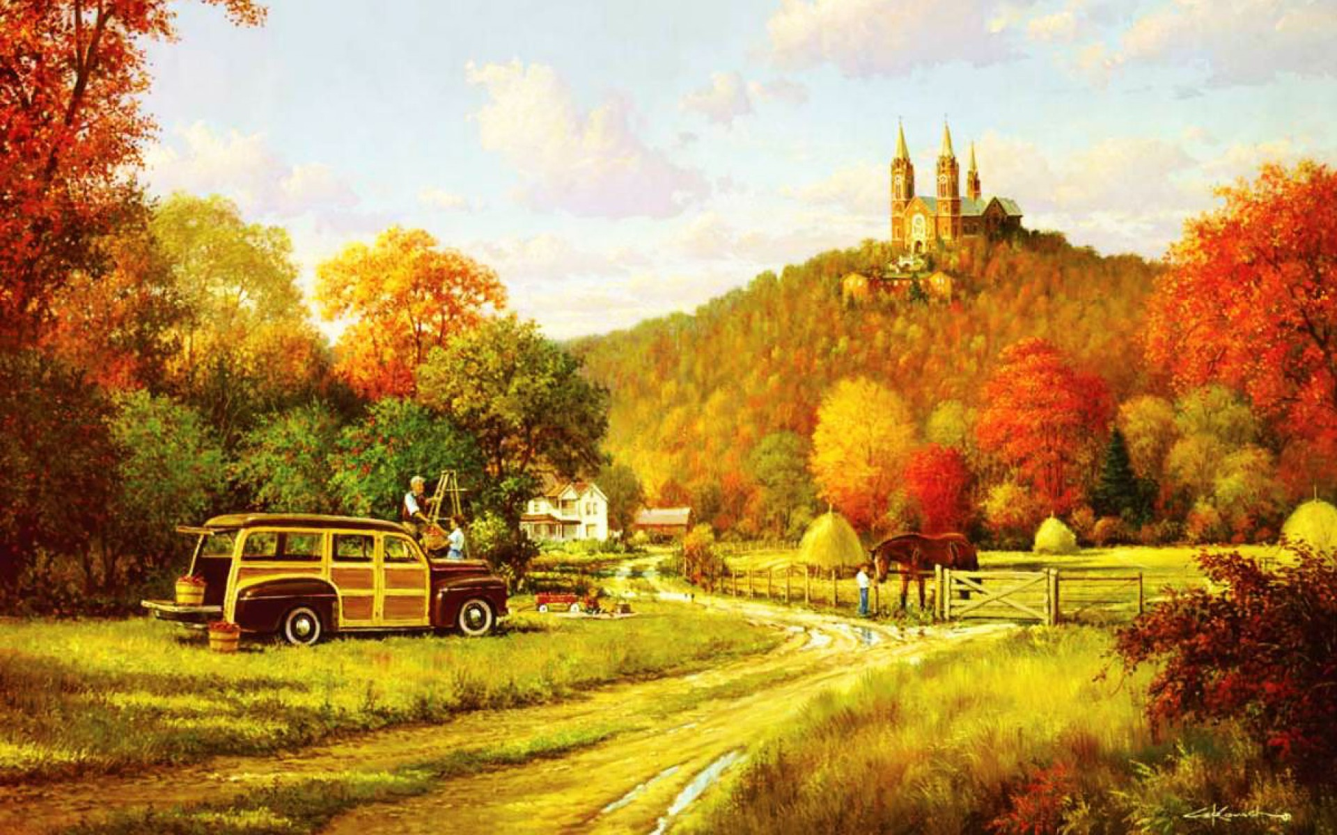 1920x1200 People Car Crop Church Autumn Desktop Pc And Mac