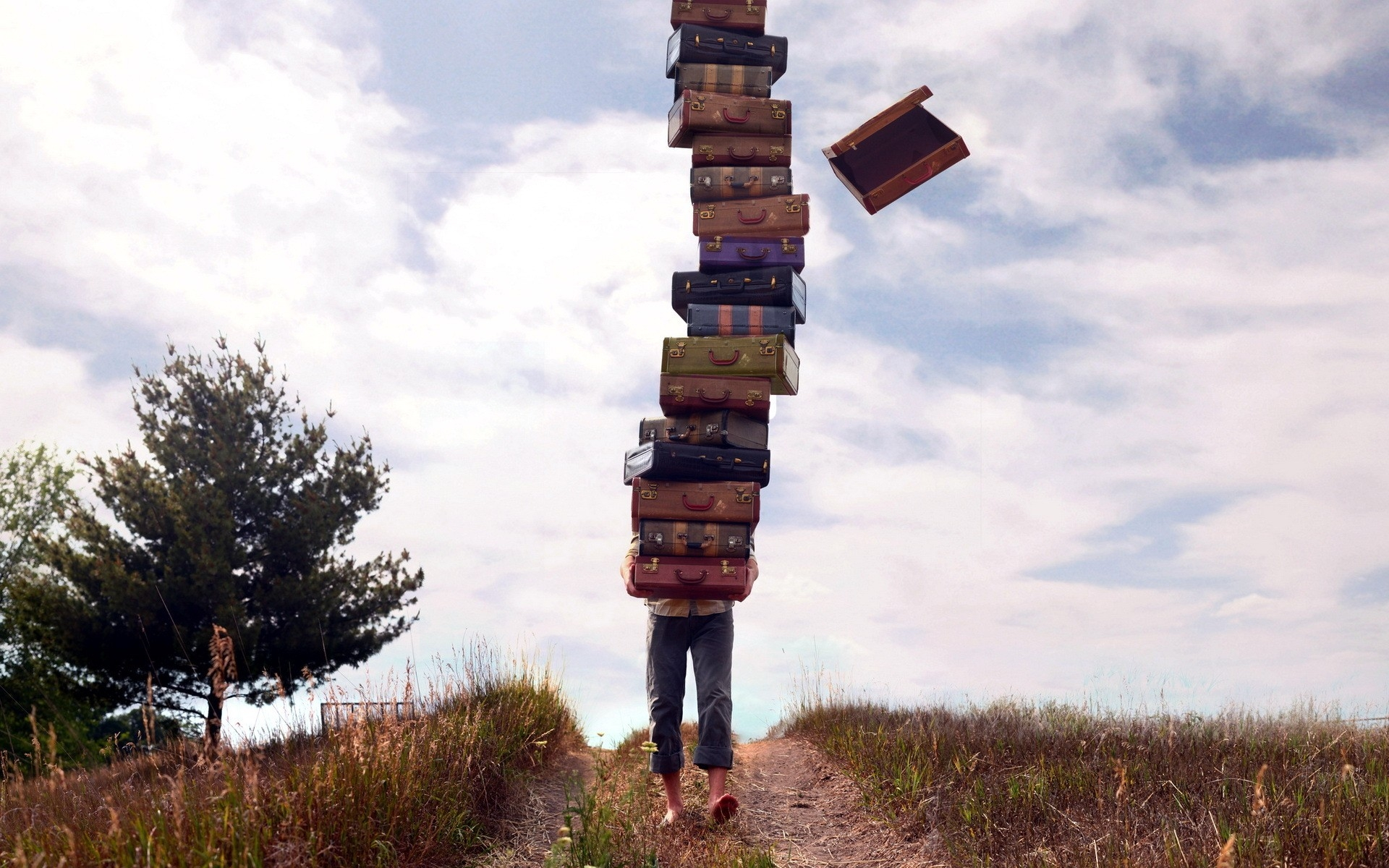 people luggage stack field wallpapers