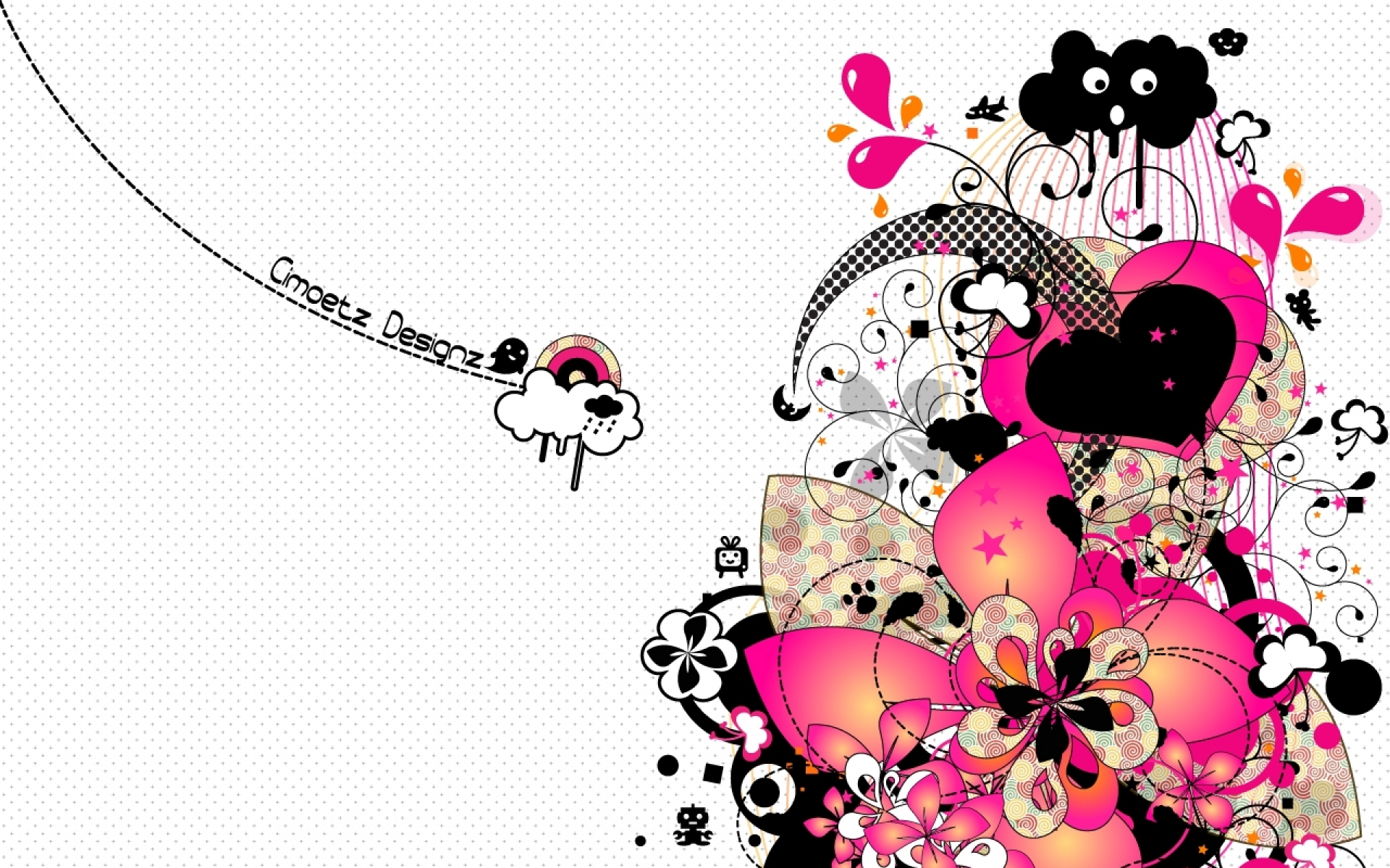 Pink Black Flower Heart Cloud Wallpapers Pink Black Flower Heart