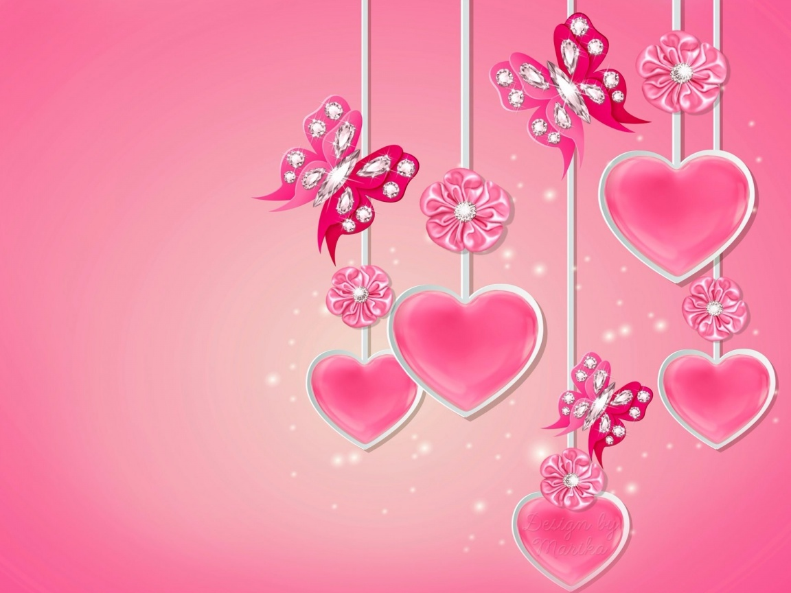1152x864 Pink Hearts Butterflys Flowers