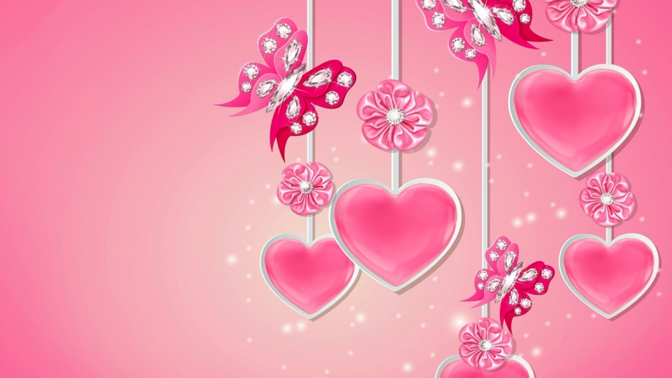 1366x768 Pink Hearts Butterflys Flowers