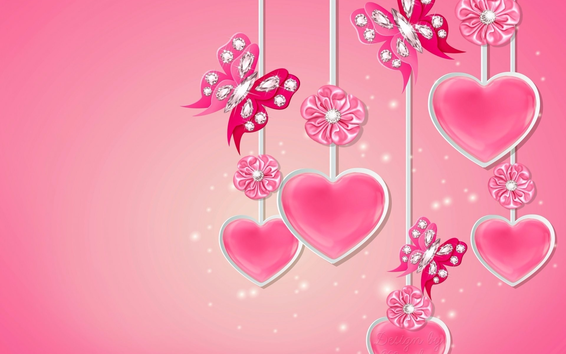 1920x1200 Pink Hearts Butterflys Flowers