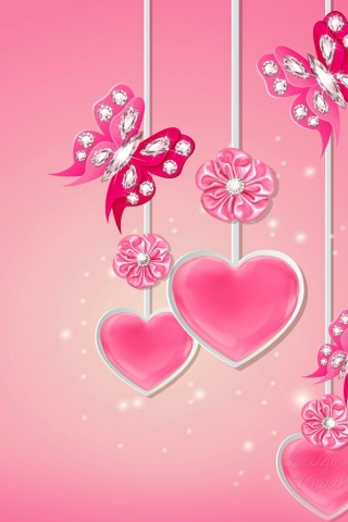 320x480 Pink Hearts Butterflys Flowers