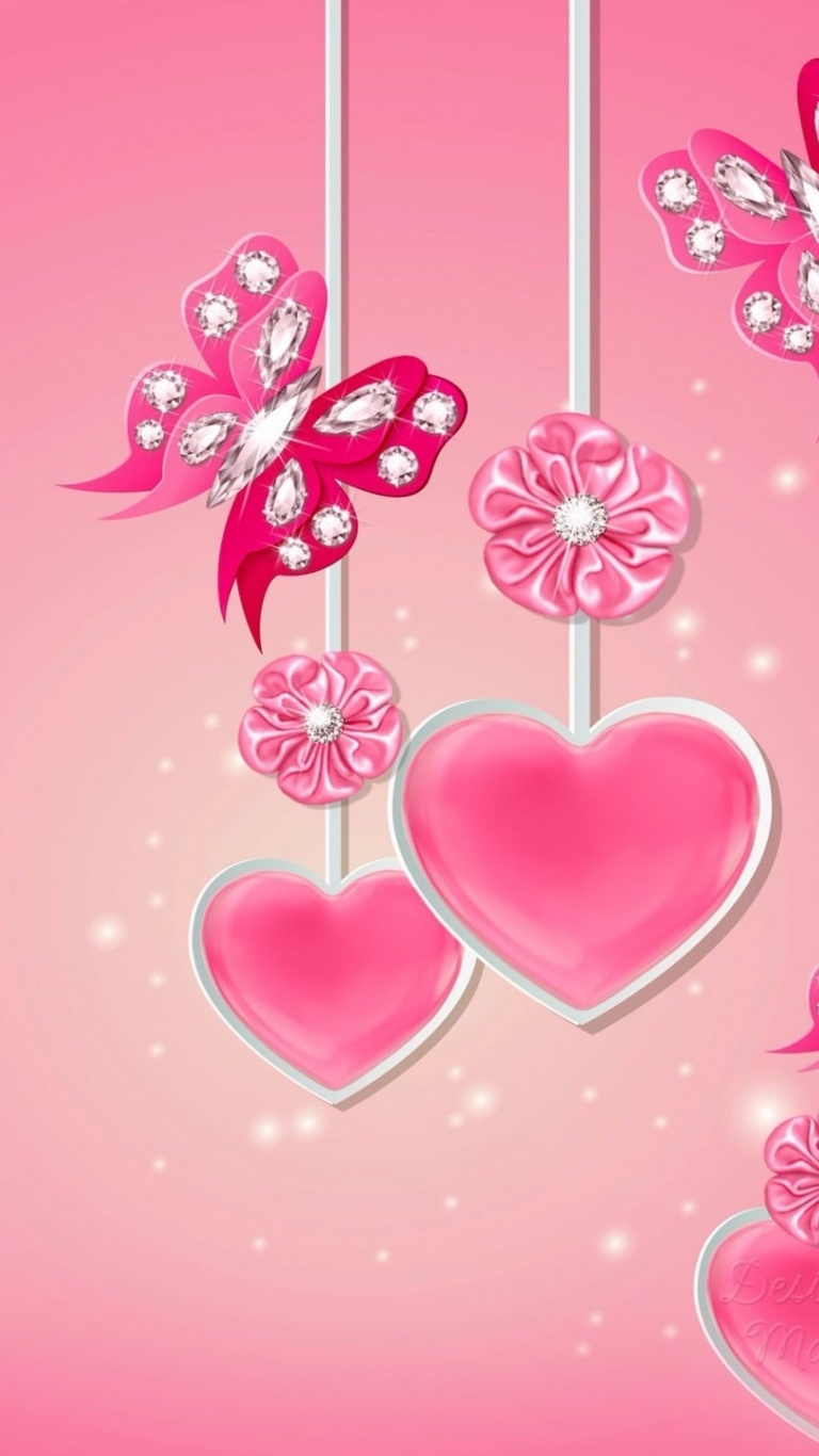 768x1366 Pink Hearts Butterflys Flowers