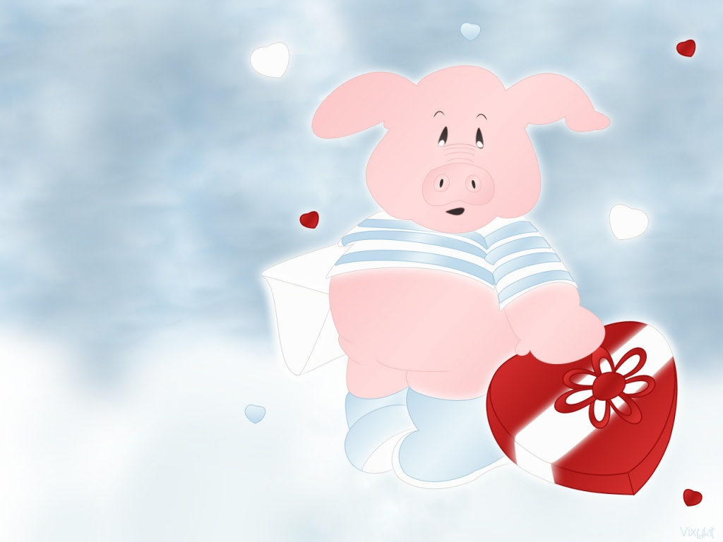 1024 Pink pig with heart desktop wallpapers and stock photos
