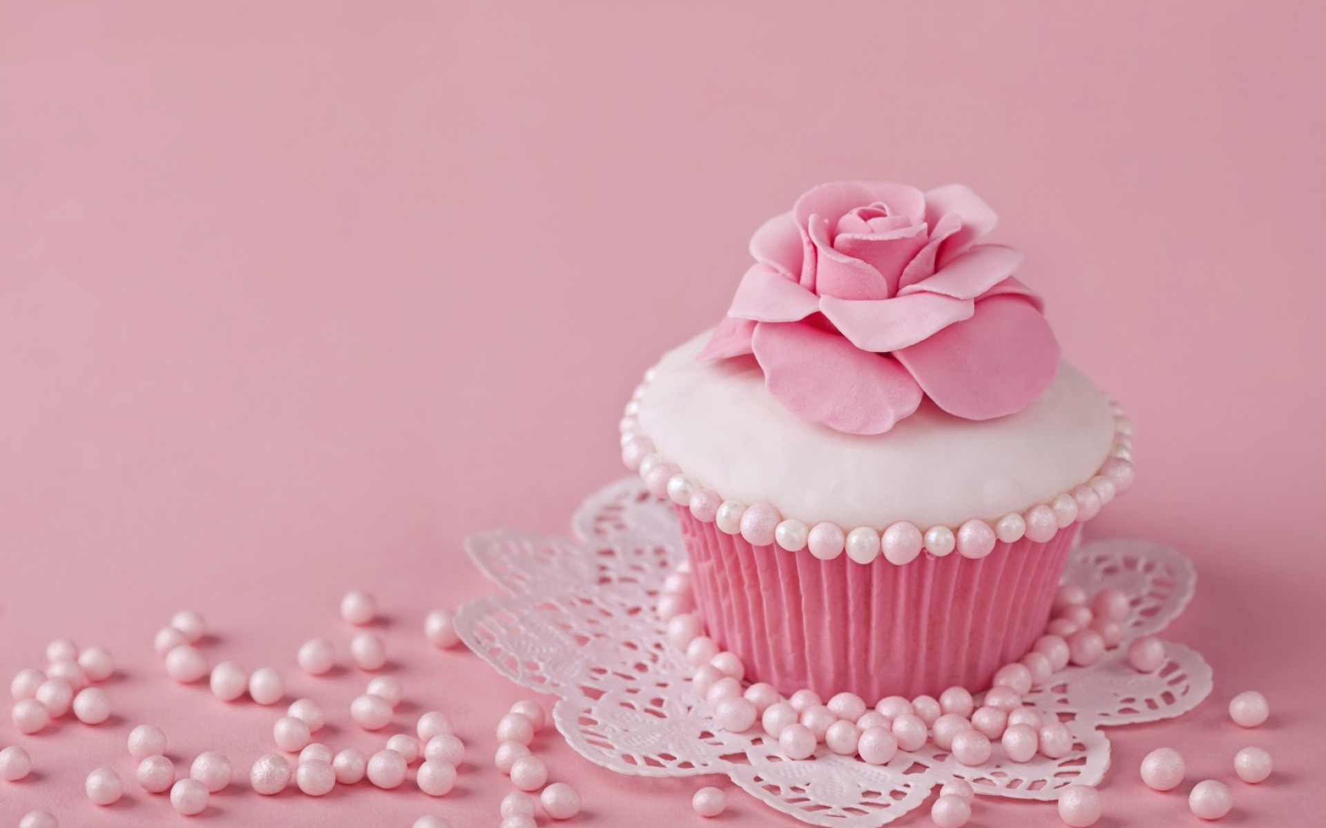 Pink Rose Cup Cake Wallpapers