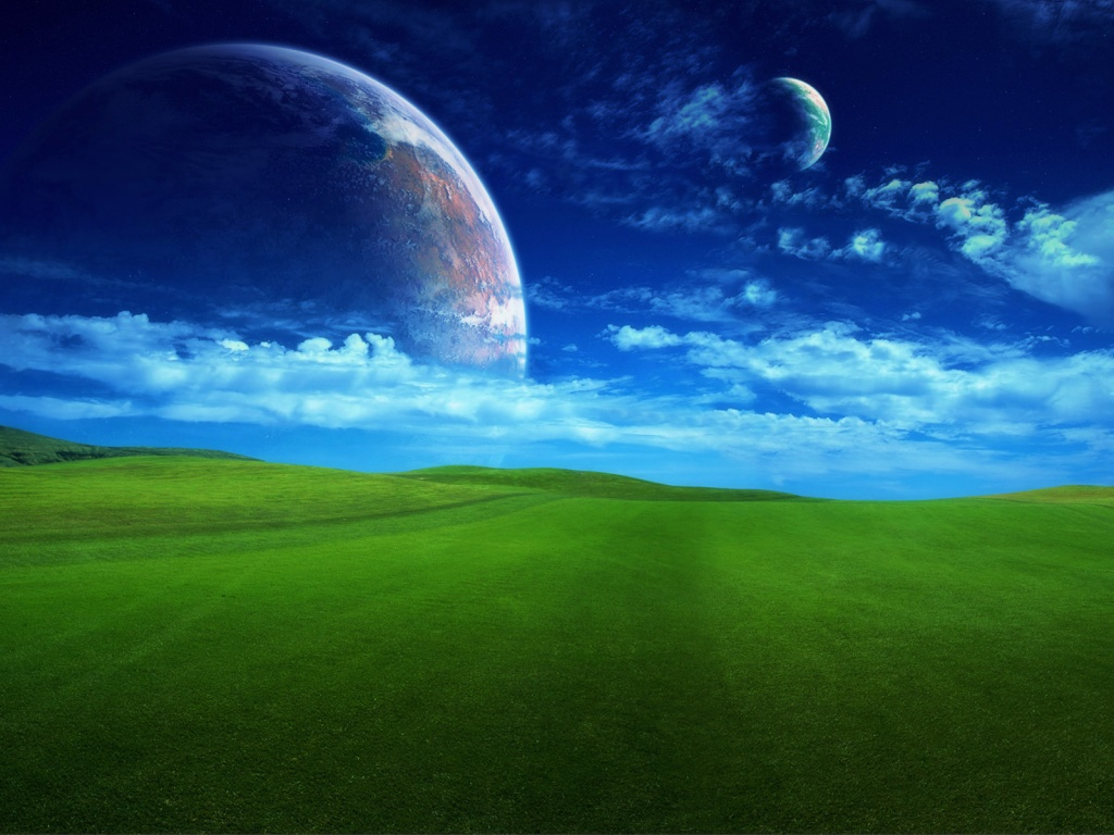 1024x768 Planet and the field desktop PC and Mac wallpaper