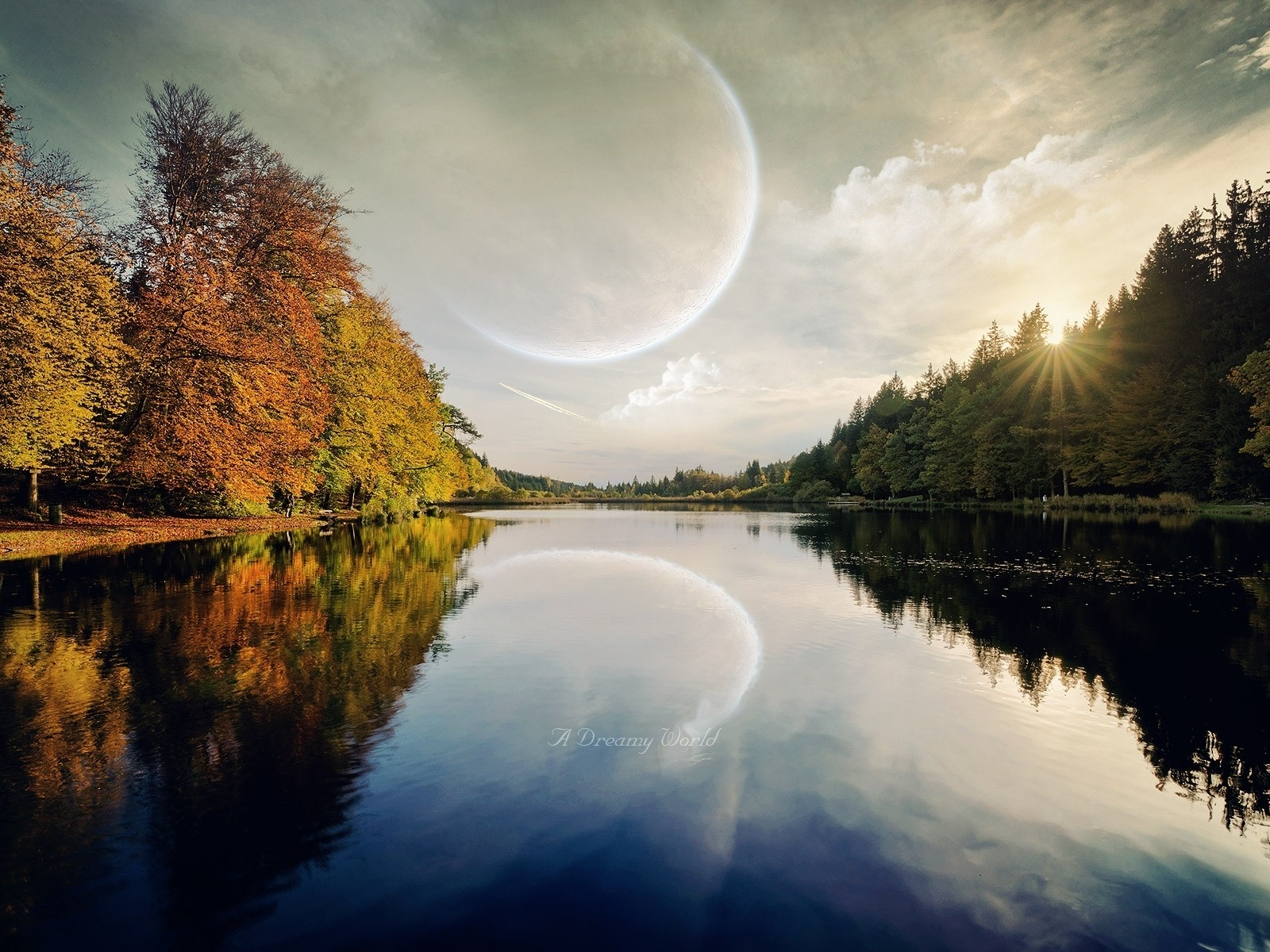 1500x500 Planet Trees Sun Dreamy River
