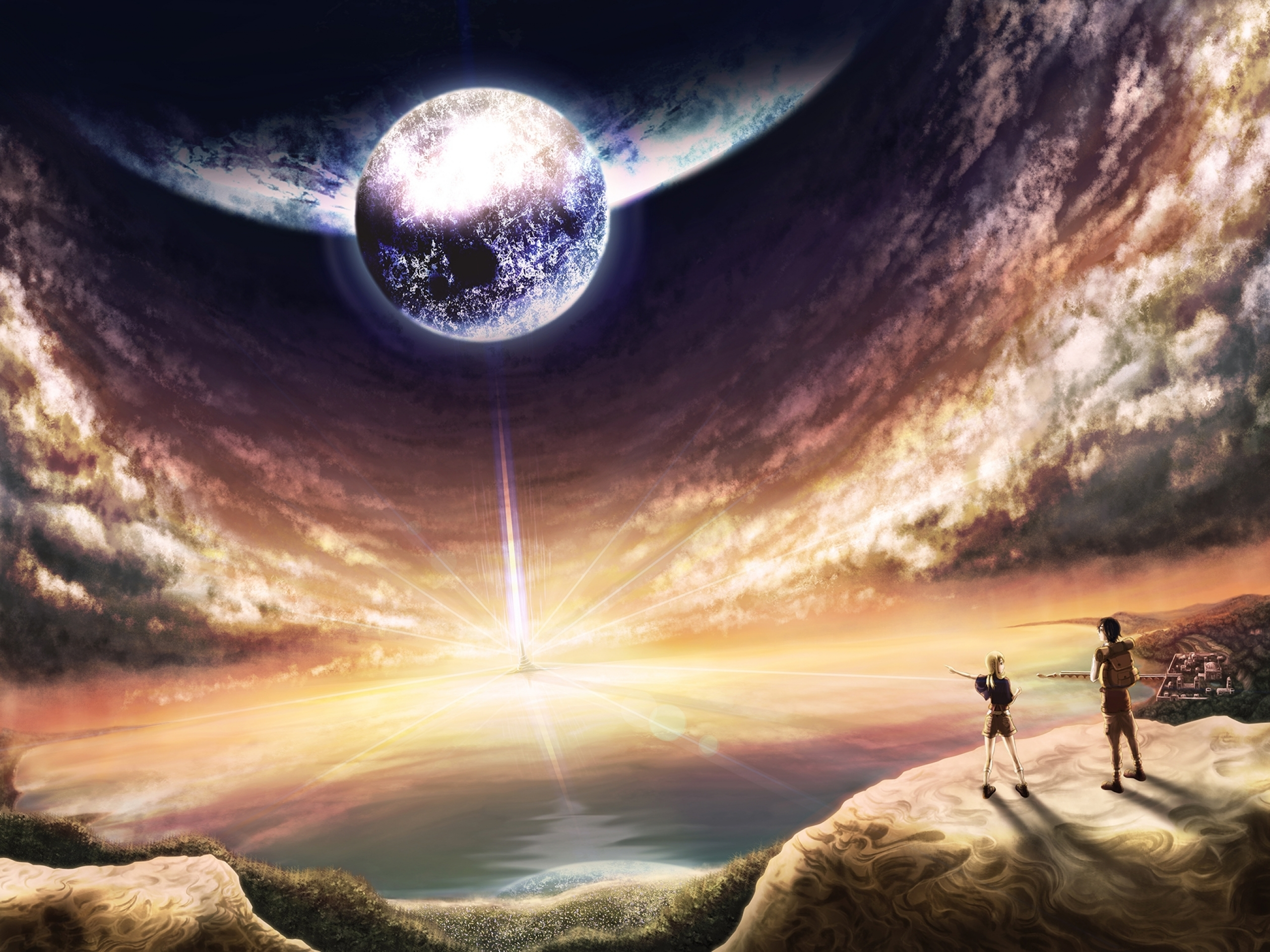 Planets Horizon Lookout People Wallpapers