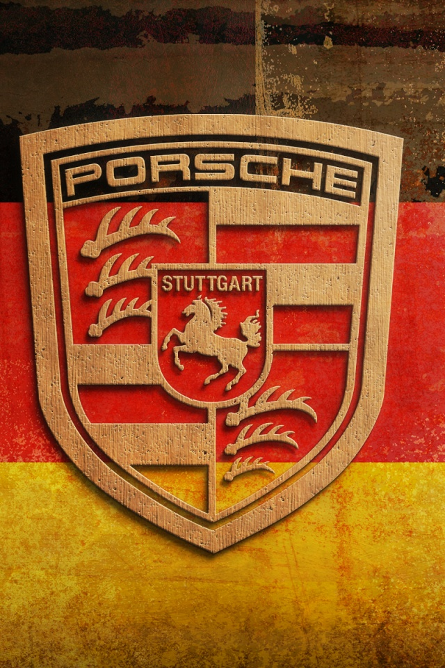 640x960 Plywood Porsche Logo Iphone 4 Wallpaper