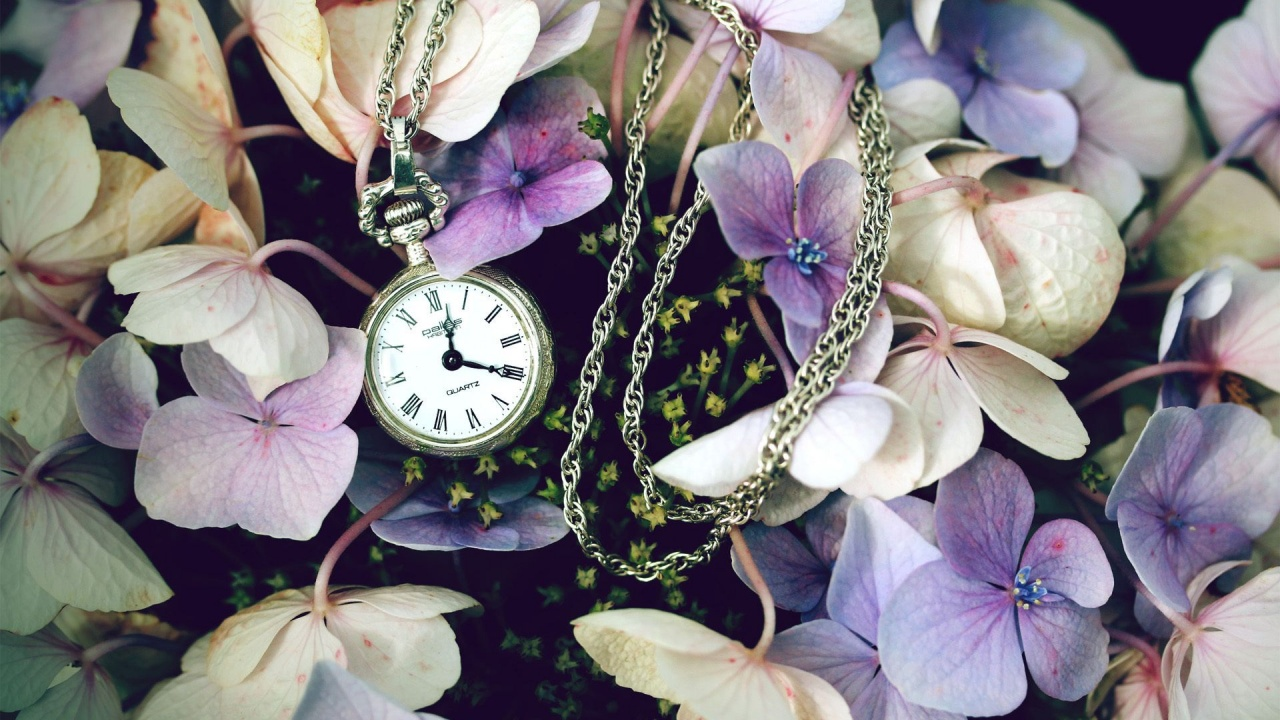 1280x720 Pocket Watch & Flowers