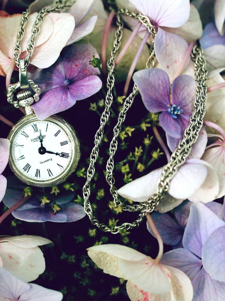 768x1024 Pocket Watch & Flowers