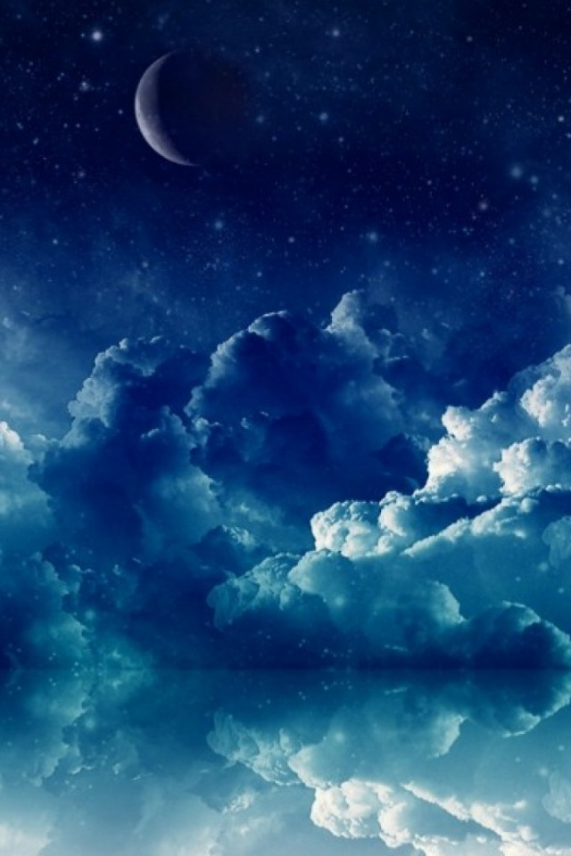 640x960 Pretty Blue Night Desktop PC And Mac Wallpaper