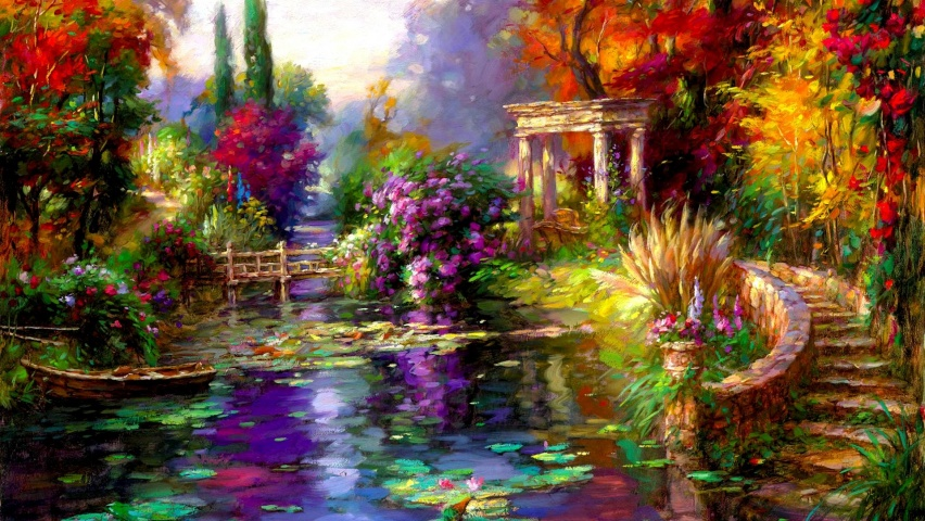 825x315 pretty garden pond boat steps facebook cover photo for Garden pool facebook