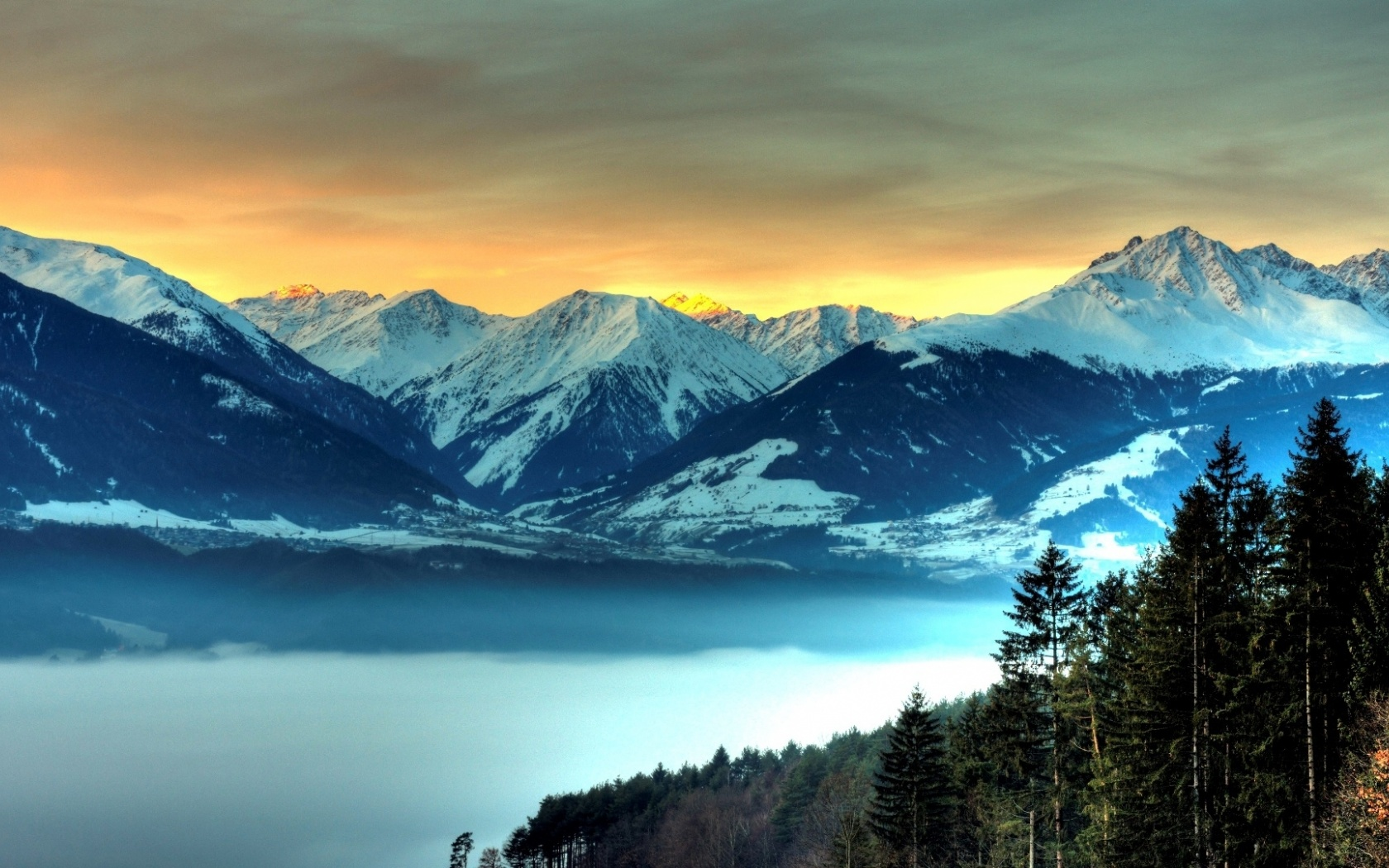 1680x1050 Pretty Mountains Forest Desktop Pc And Mac Wallpaper