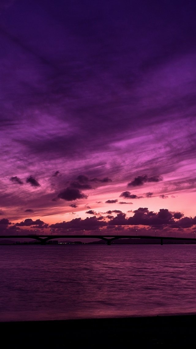 640x1136 Purple Sky Ocean Iphone 5 Wallpaper