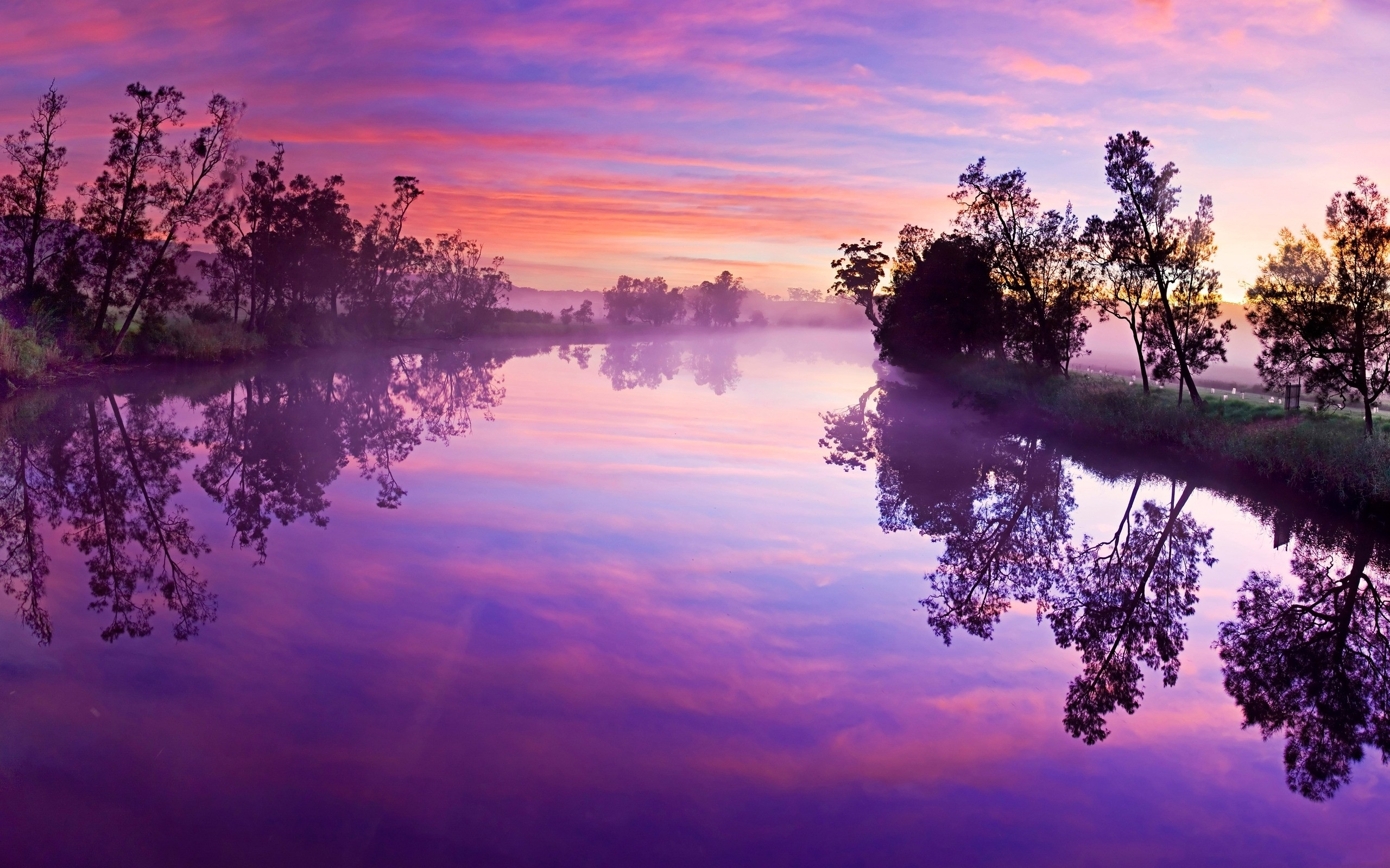 purple sky river trees reflect