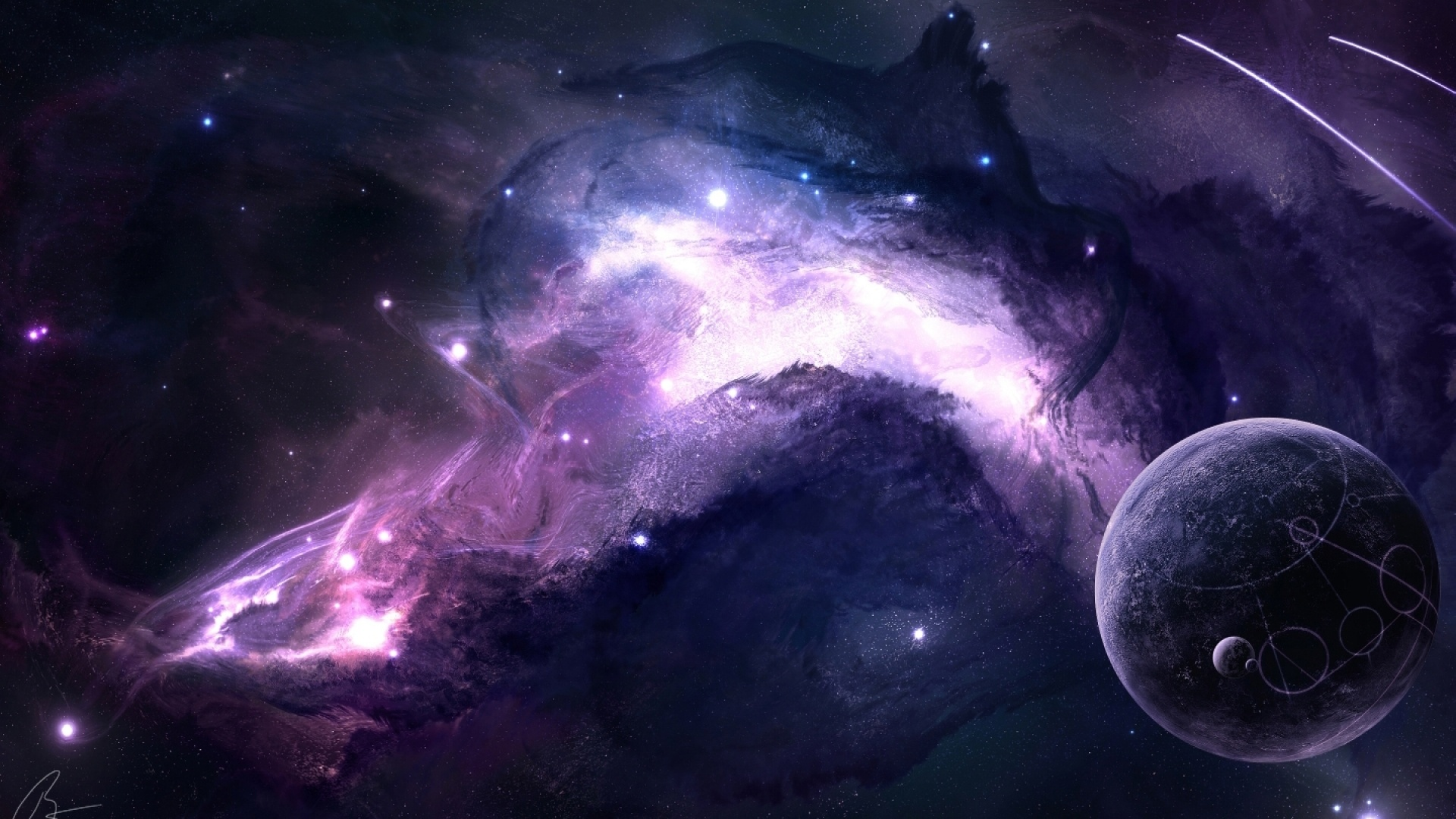 1920x1080 Purple Space Desktop Pc And Mac Wallpaper