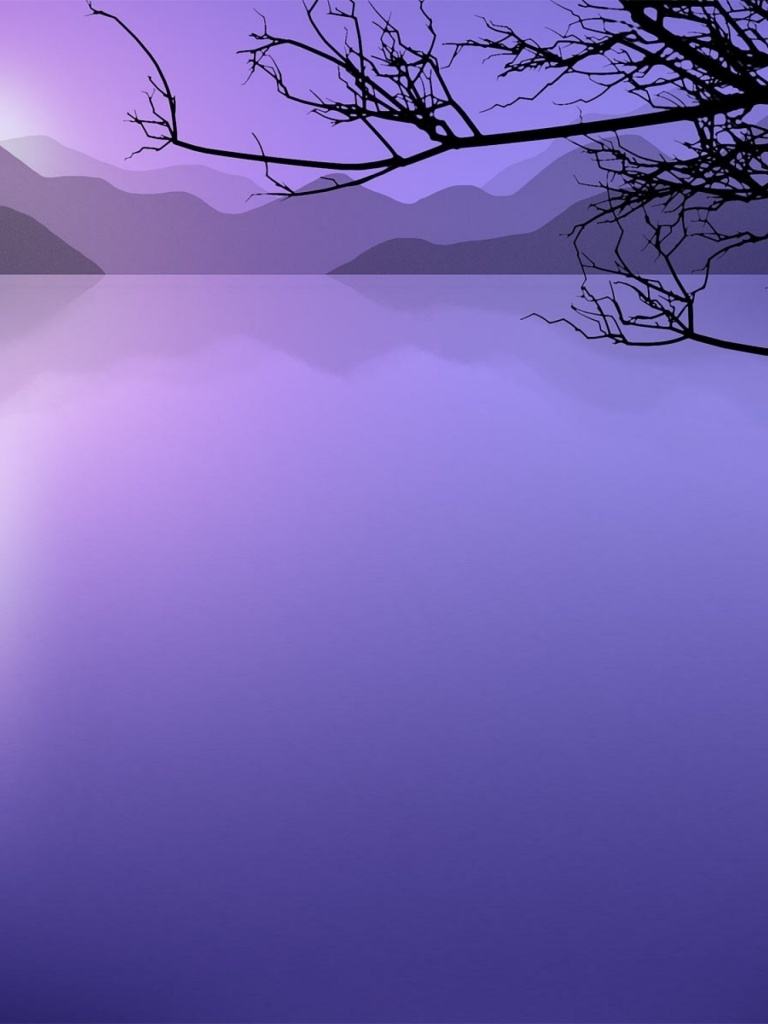 768x1024 Purple Water & Dark Wood