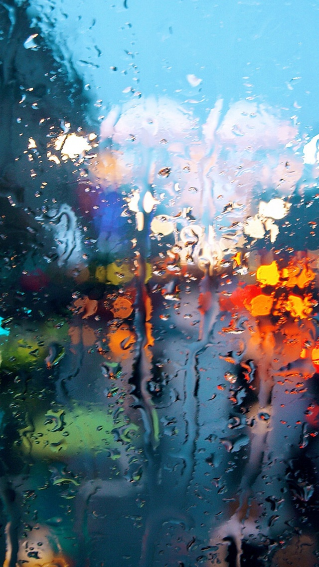 640x1136 Rain On Glass Iphone 5 Wallpaper