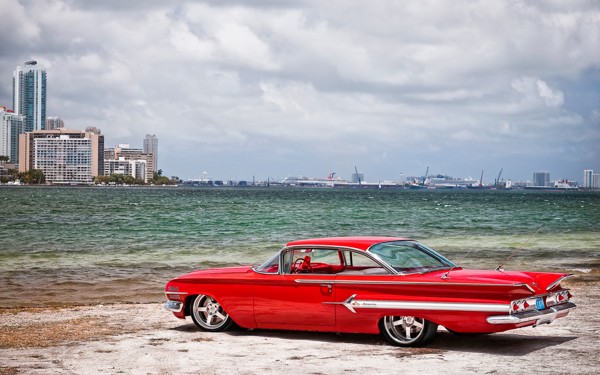 Red Chevrolet Impala Old School Wallpapers Red Chevrolet Impala Old School Stock Photos