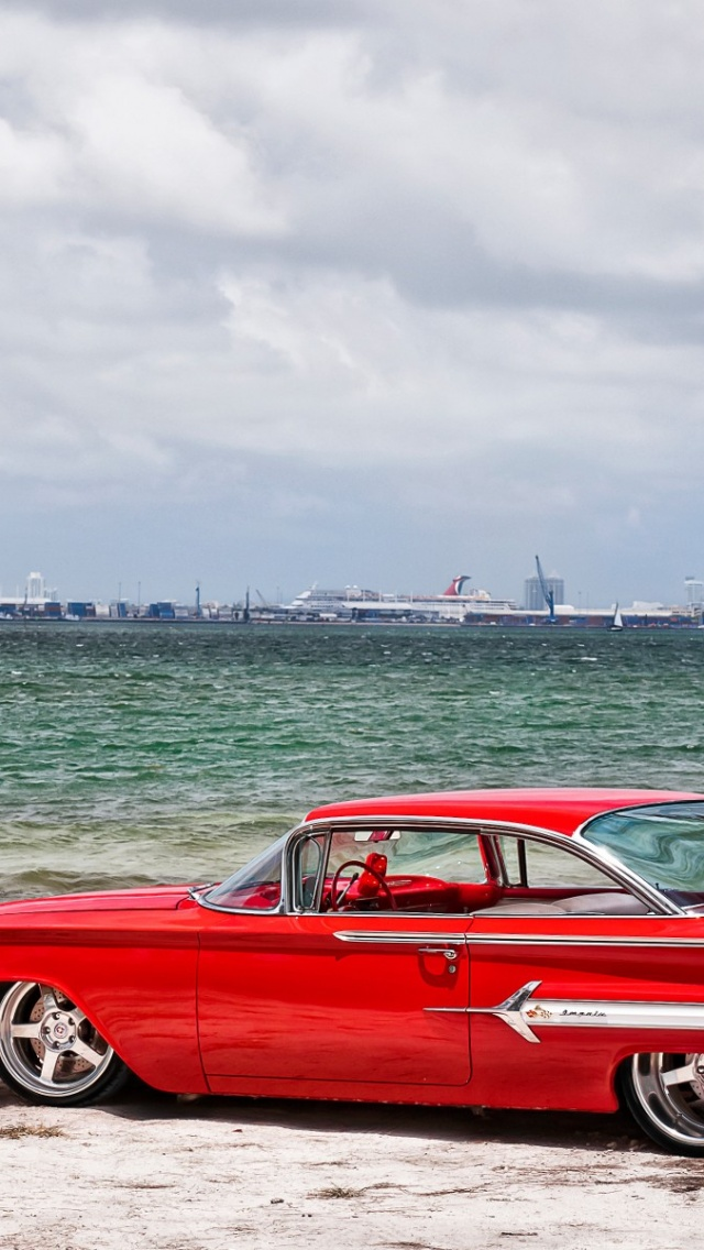 640x1136 Red Chevrolet Impala Old School Iphone 5 Wallpaper