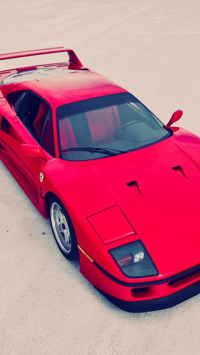 640x1136 Red Ferrari F40 Top Side Angle Iphone 5 Wallpaper